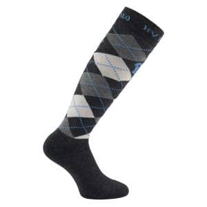 Kniestrumpf Argyle in Charcoal/Grey/Soft Blue