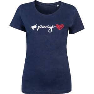 T-Shirt Damen #Pony-love in dunkelblau