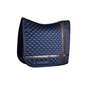 Dressurschabracke Leather Deluxe in Navy Blue, Größe WB