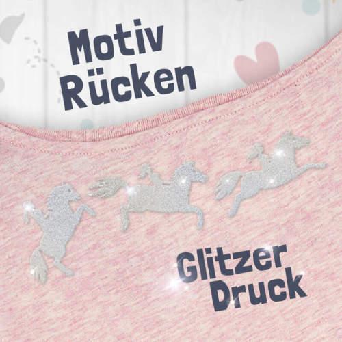 """#soulhorse - T-Shirt """"Eskalation"""" mit silber Glitzer in cream heather pink"""
