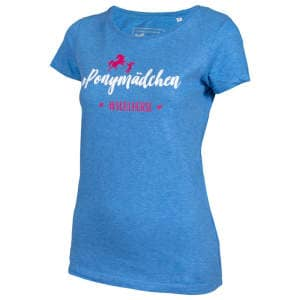 Damen- T-Shirt #Ponymädchen in Mid Heather blue