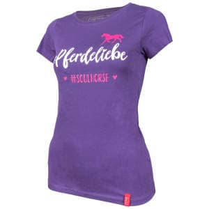 Damen- T-Shirt #Pferdeliebe in Plum