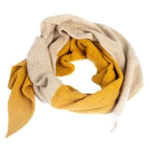 Schal zweifarbig senfgelb/beige