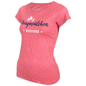 Damen- T-Shirt #Ponymädchen in Heather cranberry