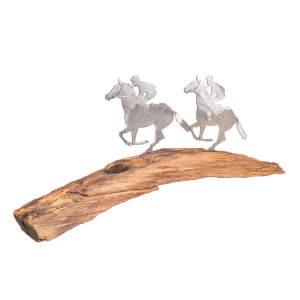 Metalldeko Galopper Rundbogen (2 Stück) auf Eichenholz lackiert
