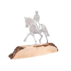 Metalldeko Dressurpferd groß (330x300mm) auf Eichenholz lackiert
