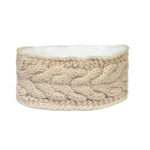 Stirnband Strick Fleece in beige