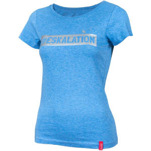 "T-Shirt ""Eskalation"" mit silber Glitzer in heather mid blue"