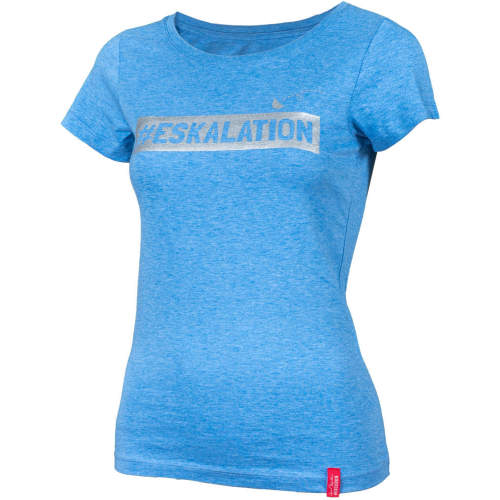 "#soulhorse - T-Shirt ""Eskalation"" mit silber Glitzer in heather mid blue"