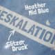 "Thumbnail T-Shirts: T-Shirt ""Eskalation"" mit silber Glitzer in heather mid blue 1066867730848 von #soulhorse"