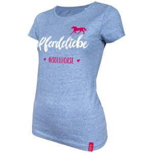 Damen- T-Shirt #Pferdeliebe in heather-blue