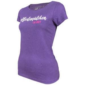 Damen- T-Shirt Pferdemädchen -na und? in Plum