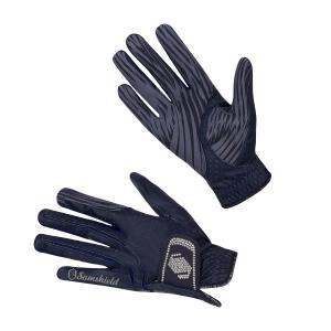 Reithandschuh V-Skin Swarovski silber/dunkelblau