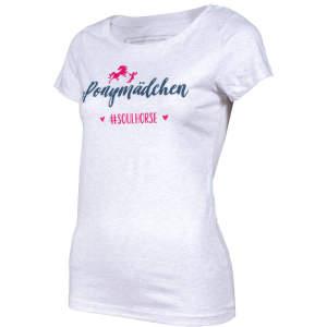 Damen- T-Shirt #Ponymädchen in grau