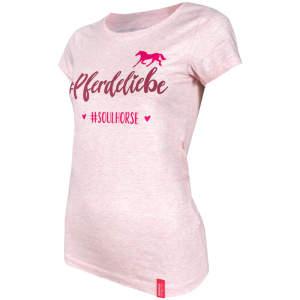 Damen- T-Shirt #Pferdeliebe in Cream Heather pink