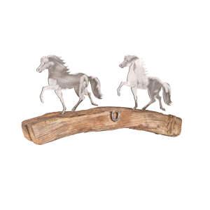 Metalldeko Isländer Rundbogen (2 Stück) auf Eichenholz lackiert