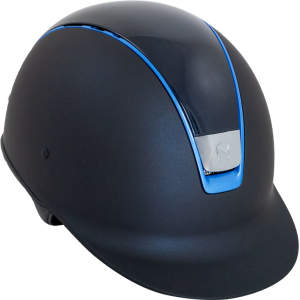 Reithelm Shadowmatt in blau, Top Shadow glossy blau-metallisch, Trim Chrome blau, Blason Chrome, Größe : M
