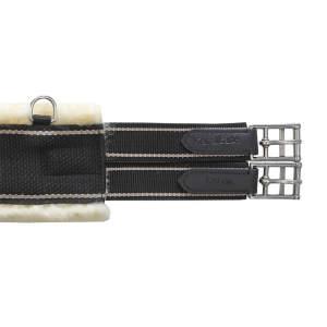 Sattelgurt Textil mit Lammfell in schwarz