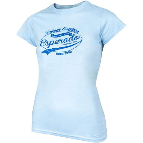 Esperado - Damen-T-Shirt Vintage in hellblau