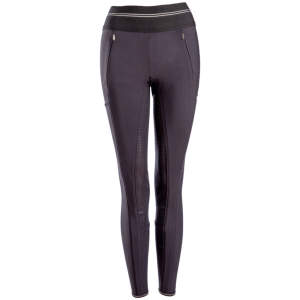 Damen-Winterreitleggings Gia Grip Athleisure Softshell in schwarz