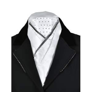 Plastron Fashion in weiß/grau mit Nieten