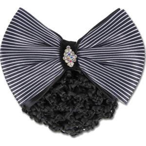 Knotenhaarnetze mit Zierschleife und Spange in schwarz/weiß