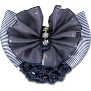 Knotenhaarnetze mit Zierschleife und Spange in Blau