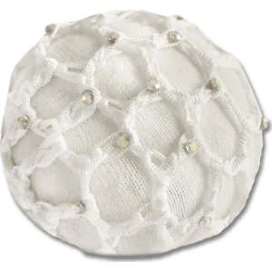 Haarnetz mit Glitzersteinchen in weiß (VE2)