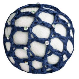 Haarnetze mit Glitzersteinchen in blau