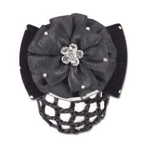 Haarnetz mit Rosette und Spange in schwarz