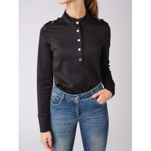 Shirt Damen Rollkragen Carmen in schwarz
