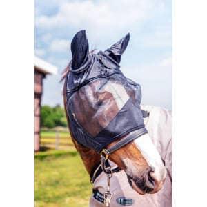 Fliegenmaske Premium mit Ohrenschutz in schwarz