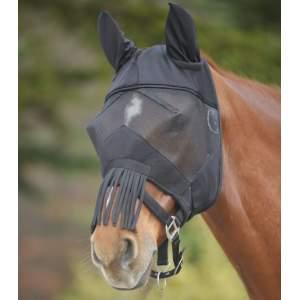Fliegenmaske Premium mit Ohrenschutz und Nasenfransen in schwarz