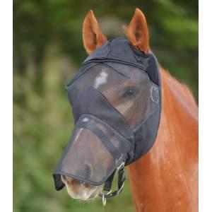 Fliegenmaske Premium ohne Ohren- mit Nasenschutz in schwarz