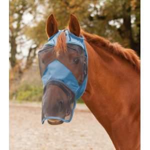 Fliegenmaske Premium ohne Ohren- mit Nasenschutz in taubenblau