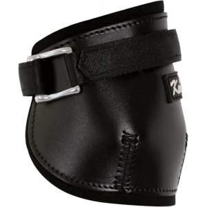 Streichkappen aus Leder, Zuggamasche, ein  Klettverschluss in schwarz