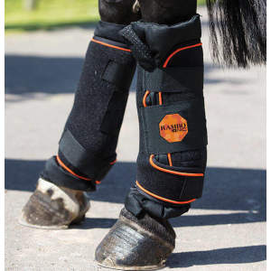 Horseware Ionic Stable Boots Pair in Black/Black & Orange Stripe