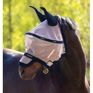 Fliegenmaske Rambo Flymask Plus in Oatmeal/Navy, White & Beige